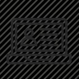 files, laptop, social network, user, website icon