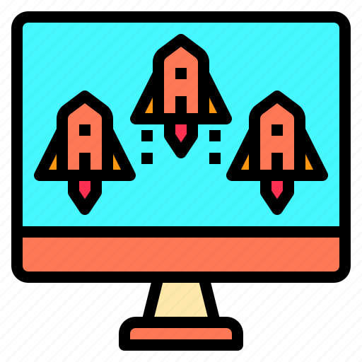 business, communication, computer, connection, meeting, strategy, vision icon