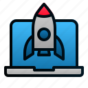 business, laptop, launch, rocket, startup icon