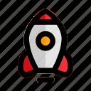 concept, development, rocket, spaceship, start, startup icon