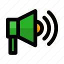 announcement, broadcast, loudspeaker, megaphone, speaker, start, up