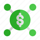 currency, distribute, distribution, investment, start, up icon