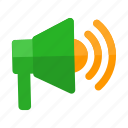 announcement, broadcast, loudspeaker, megaphone, speaker, start, up icon