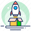 box, flame, launch, product, rocket