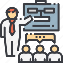business, discussion, meeting, people, presentation, presenting, report icon
