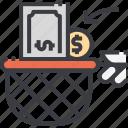 cash, catch, catching, dollar, money, net icon