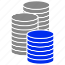 coins, finance, money, stack icon