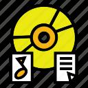 disc, dokumen, file, music, office icon