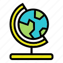 earth, global, globe, map, stationary, student icon