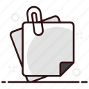 appendix, attachment, clip, paper, paper binder, paper clip, paper fastener icon