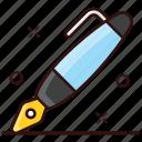 dip pen, fountain pen, ink pen, pen, stationery item, writing pen icon