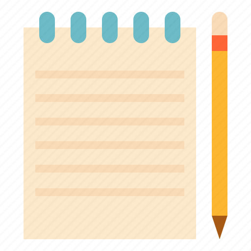 notepad pencil stationery icon