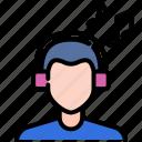 casual, happy, headphones, lifestyle, listening, male, music