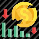 loss, money, graph, down, dollar, stock, business