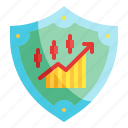 shield, protection, business, stock, market, chart, security