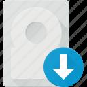 disk, download, drive, hard, storage icon