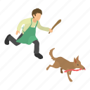 animal, cute, dog, isometric, object, thief, white