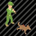 animal, catcher, dog, isometric, object, puppy, work