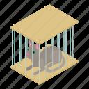 animal, cage, cat, domestic, feline, isometric, object