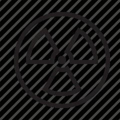 atomic, danger, nuclear, radiation, radioactive, sign, warning icon