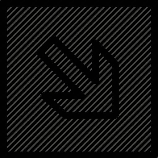 arrow, down, right icon