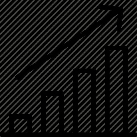 bar, chart, diagram, graph, line, report, upwards icon
