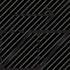distort, edit, line, right, up icon