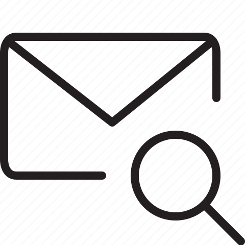 envelope, find, line, mail, search icon