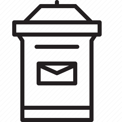 inbox, line, mailbox icon