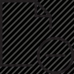 delete, document, file, line, minus icon