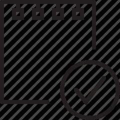 check, document, file, line, mark, note icon