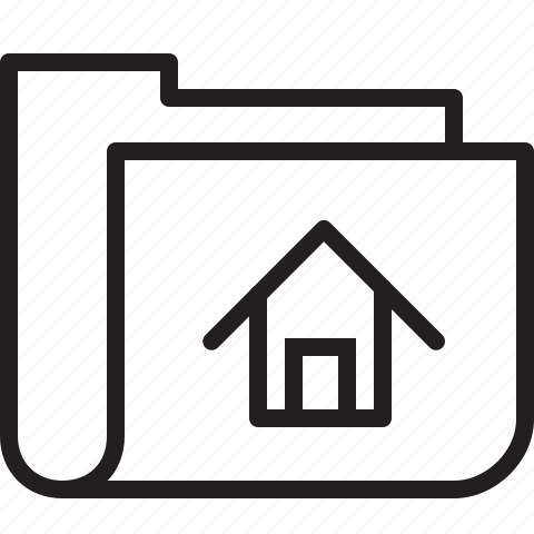 folder, home, line, main icon