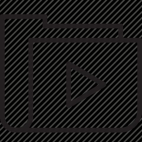 folder, line, media, music, playlist icon