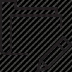 edit, folder, line, pencil, wrtie icon