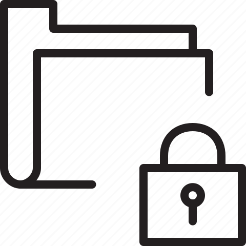 folder, line, lock, secure icon