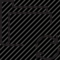 folder, line, refresh, sync icon