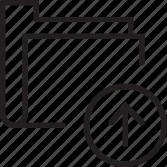 folder, line, up, upload icon