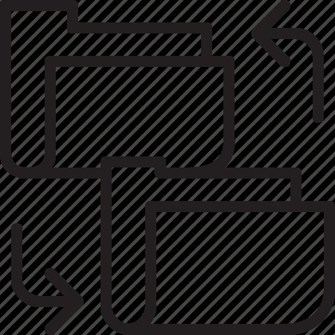 change, folder, line, transfer icon