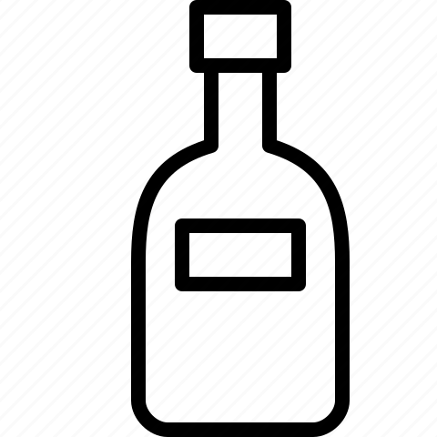 alcohol, bottle, line, sake, wine icon