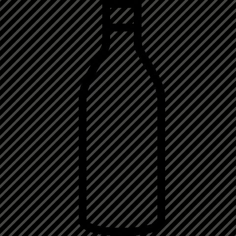 bottle, line, wine icon
