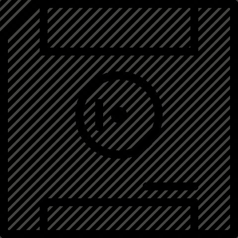 disc, floppy disc, line, save, storage icon