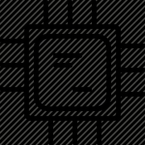 chip, computer, line, microchip, processor icon