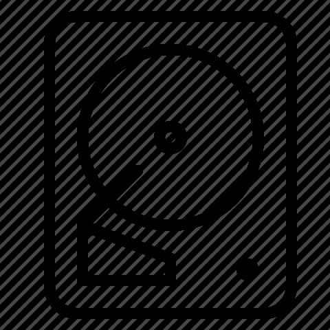 harddisk, harddrive, line icon