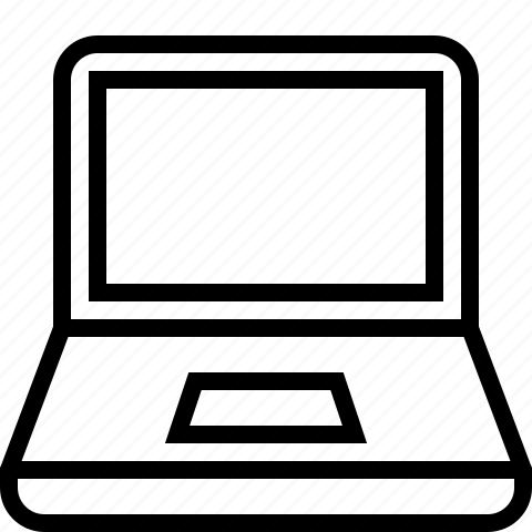 computer, laptop, line, notebook icon