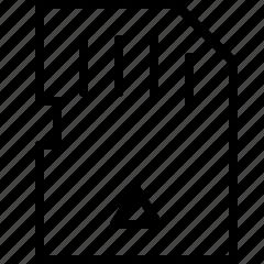 card, line, micro sd, sd, storage icon