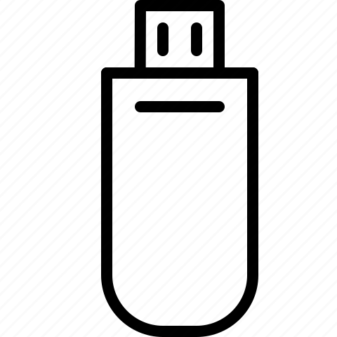 drive, line, storage, usb icon