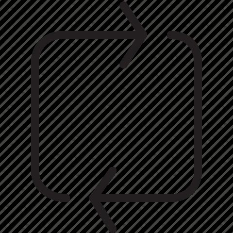 arrow, line, loop, rectangle icon