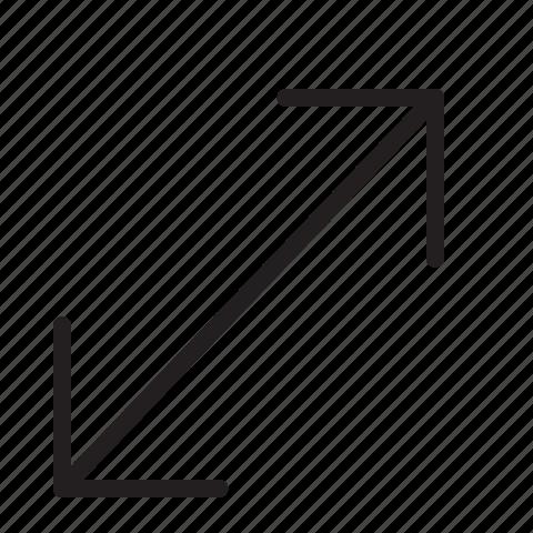 arrow, fullscreen, line, scale icon