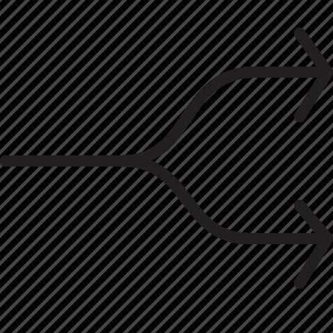 arrow, line, split icon