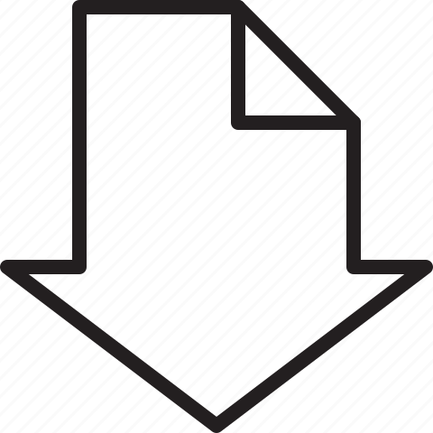 arrow, big, down, line icon